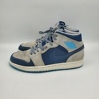 Men's Nike Air Jordan 1 Retro Mid Dark Powder Blue Grey White Sz 9.5 554724 406