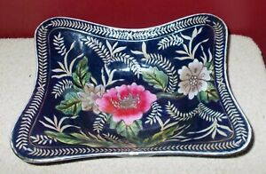 ORIENTAL ACCENT LARGE BOWL Dark Blue with Floral Design Heavy Ceramic Rectangle