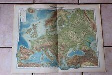 Antiguo carta Atlas universal Geografía 1919 N°4 Europe física - Hachette
