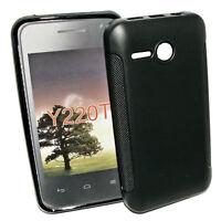 Dark Case Silikon TPU Handy Cover Hülle Kappe in  Schwarz für Huawei Ascend Y220