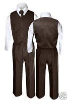 4pc Boy Easter Wedding Formal Party Vest Suit D. Brown S M L XL 2T 3T 4T 5 6 7