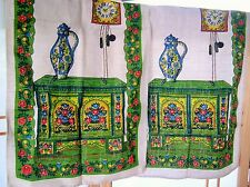 2 Retro Clock coffee/teapot Blue Green Vintage LINEN TEA TOWELS bright flowers