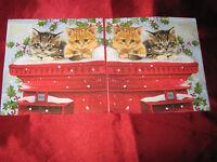 2 Servietten/Napkins, Kätzchen, Weihnachten, Schnee - NEU !!!