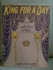 King For A Day (1928) Lewis and Young & Ted Fiorito Remick Music corp song sheet