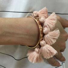 Zara Design GOLD OPEN CUFF BRACELET BEIGE/NUDE PINK TASSLE FASHION PARTY GIFT