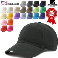 Cotton Hat - The Hat Depot Plain Washed Cotton & Denim Low Profile Baseball Cap