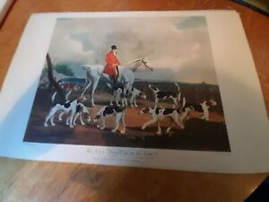 OLD ENGLISH  ANTIQUE  PRINT THE EARL OF DARLINGTON & 6 FOX HOUNDS