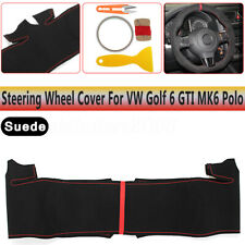 Black Suede Steering Wheel Hand-stitch On Wrap Cover For VW Golf 6 GTI MK6  !