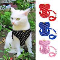 JQ_ AU_ Soft Mesh Small Dog Harness And Leash Set Puppy Cat Pet Jacket Vest Le
