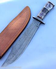 Hecho A Mano De Acero Damasco Bowie cuchillo de caza 17 Pulgadas Color Mango De Hueso De Camello