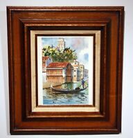 original vintage watercolor Venice Italy signed framed 1950s