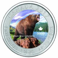 2017 Canada Grizzly 1.50 Ounces of Silver Colorized Series - Collect Them All
