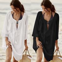 Plus Size Women Summer Beach Casual Bikini Cover Up Kaftan Boho Swimwear Dress