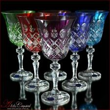 Bohemian Crystal Wine Glasses 20 cm, 220 ml, Memfis 6 pc New!