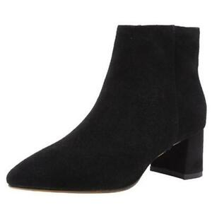 New Womens Ladies Pointed Toe Zip Up Mid Block Heel Casual Chelsea Ankle Boots L