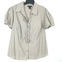 Lane Bryant Short Sleeve Striped Blouse Top Stretch Casual Career Sz 14/16 Plus