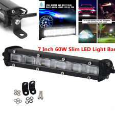 Waterproof 7'' LED Light Bar 60W Flood Beam Lamp Car SUV Back Up Driving Light