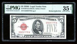 DBR 1928-D $5 Legal Fr. 1529 Vinson GA Block PMG 35 EPQ Serial G56267776A