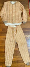 Vintage 1960s Quilted Thermal Pants Jacket Set Outdoor Tracksuit Small 34/36