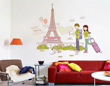 Paris travel Scenery Home Room Decor Removable Wall Stickers Decal Decorations