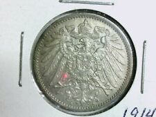Beautiful Uncirculated & Toned 1914 A Germany 1 Mark Silver Coin. KM# 14
