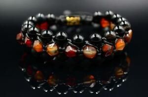 Men's Tiger's eye Onyx Fire Agate 3 Row Gemstone Bracelet Macrame Beaded