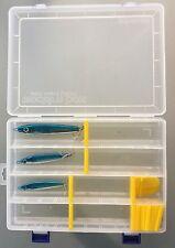 3 X Reelemin Tailor & Mackerel Slugs With Eye's & 1 Lure Box