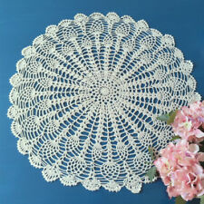 "Beige Vintage Hand Crochet Lace Doily Round Table Topper 20"" Pineapple Pattern"