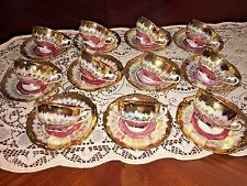 Bavaria Germany Gold & Pink China Demitasse Cup & Saucer 22 piece, 11 sets