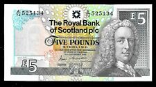 More details for £5 a first royal bank of scotland banknote 13 dec.1988 a.m maiden unc pms97a
