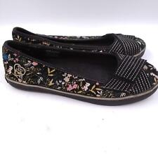 Skechers Cali Womens Black Round Toe Casual Floral Slip On Flat Shoes Size 7