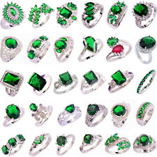 30 Styles Fashion Topaz Jewelry Emerald Quartz Gemstone Silver Ring Size 6-13