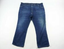 Vintage 80s Wrangler Mens 46x30 Spell Out Distressed Bootcut Denim Jeans Blue