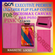 ACM-EXECUTIVE LEATHER FLIP CASE for MICROMAX CANVAS TAB P680 COVER STAND - PINK