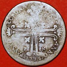 1735 6 Tari Carlo di Borbone Coronations Sicily Italian States KM# 149
