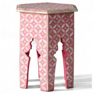 Bone Inlay Round Side Table Pink White Geometric (MADE TO ORDER)