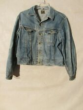 S4953 Vintage Lee 101-J Women's Size 12 Blue Jean Jacket W/ Cool Trucker Grunge