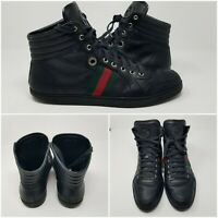 GUCCI Guccissima Web Embossed GG Monogram Black High Leather Shoes Mens Sz 10