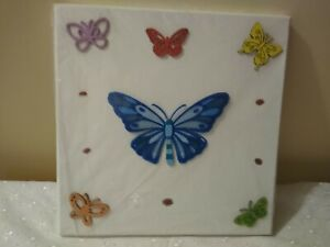 Handmade Blue Stencil Butterfly Picture
