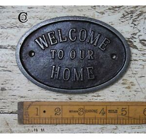 "Cast Antique Iron ""Welcome to our Home"" Oval Plaque"