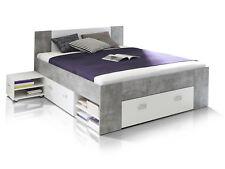 BENJAMIN Funktionsbett 140x200 Doppelbett Bett Stauraum Schubladen Beton | Weiß