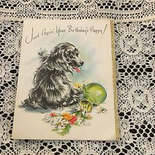 Vintage Greeting Card Birthday Cute Dog Dropped Flowers
