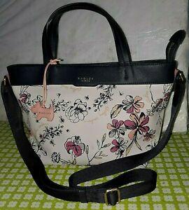 Radley London Sketchy Floral Zip Top Handbag Cross Body Navy, White & Pink