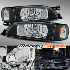 JDM LOOK BLACK CRYSTAL HEADLIGHTS/CORNER LAMPS FOR 95-01 SUBARU IMPREZA/2.5RS