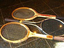 3 old vintage tennis rackets-