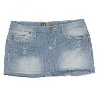 YMI Womens Mini Skirt Junior Size 5 Distressed Raw Hem Stretch Blue White Denim