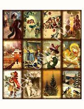 12 Vintage Christmas Holiday Hang Tags Scrapbooking Paper Crafts (120)