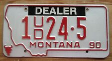 Montana 1990 SILVER BOW COUNTY USED CAR DEALER License Plate NICE # 1 24-5
