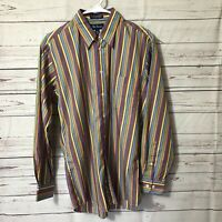 Paul Fredrick Mens Shirt Sz M Long Sleeve Button Up Striped Color Finest Cotton