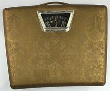 Vintage Borg Mid-Century Gold Padded Vinyl Bathroom Scale w/ Handle USA MADE